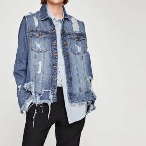 Zara Ripped Denim Waistcoat Destroyed Jean Jacket